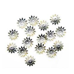 Накрайник метал шапка 13x2 мм цвете цвят сребро -50 броя