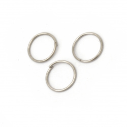 Jump Rings, Close but Unsoldered, 10x0.8 mm color silver -200 pieces