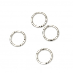 Jump Rings, Close but Unsoldered, 10x0.8 mm color white -200 pieces