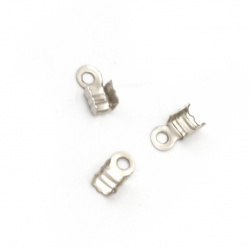 Cord Ends, Metal 3x6 mm color silver -50 pieces