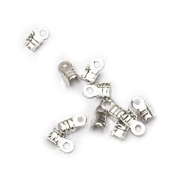 Cord Ends, Metal 3x6 mm color white -50 pieces
