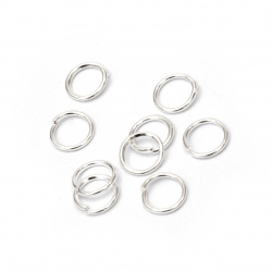 Jump Rings, Close but Unsoldered, 7x0.8 mm color white -200 pieces