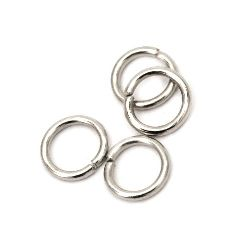 Jump Rings, Close but Unsoldered, 7x1 mm color silver -200 pieces