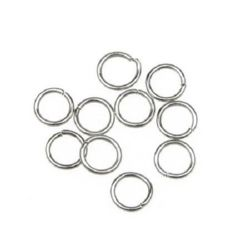 Jump Rings, Close but Unsoldered, 8x1 mm color silver -200 pieces