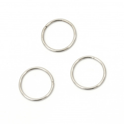 Jump Rings, Close but Unsoldered, 15x1.2 mm color silver -100 pieces