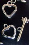 Закопчалка сърце две части к-т 12x20 мм метал цвят сребро -5 комплекта