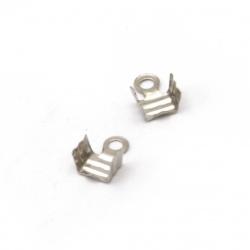 Vârf metalic 4x7 mm gofrat cu culoarea dinților argintiu -50 bucăți