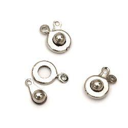 Закопчалка метал к-т 2 части 10x18x5 мм цвят сребро -10 броя