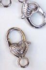 Закопчалка тип щъркел сърце 13.5x26.5 мм цвят сребро -5 броя