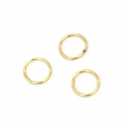 Jump Rings, Close but Unsoldered, 7x0.7 mm color gold -200 pieces