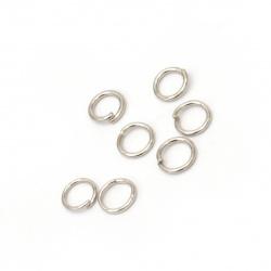 Халка метал 6x0.8 мм цвят сребро -200 броя