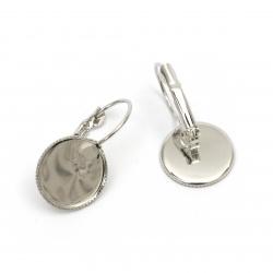 Накрайник за обеца метал 15x27 мм основа за вграждане 14 мм цвят сребро - 4 броя