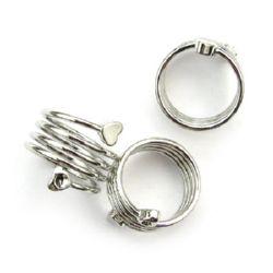 Bază metalică pentru inel spiralat de 19 mm cu inimioare culoare argintiu NF -1 bucată