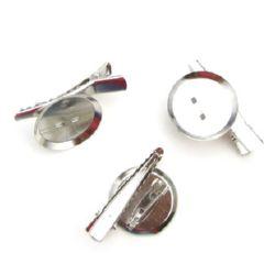 Основа за брошка метал с щипка и игла 24x39x7 мм цвят сребро