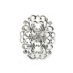 Метална основа за пръстен 17.5 мм цвете 24x31.5 мм цвят сребро -2 броя
