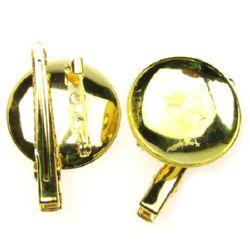 Основа за брошка метал с щипка и игла 28x45 мм цвят злато