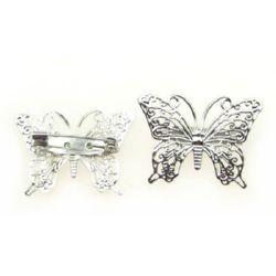 Основа за брошка метал с игла пеперуда 36x26 мм цвят сребро -2 броя