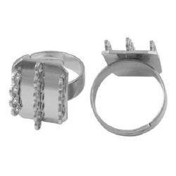 Метална основа за пръстен 2 мм цвят сребро -4 броя