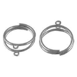 Metal ring base 18 mm two coils with hoops 2 mm 5 ~ 6x1 ~ 2 mm color silver -4 pieces