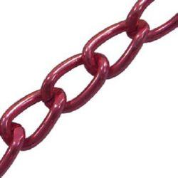 Lanț de aluminiu 7,7x5,4 mm culoare roșu -1 metru