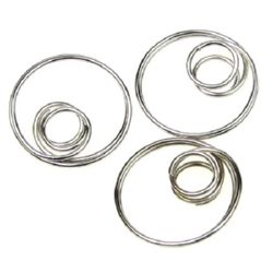 Метален елемент за закачване на синджир и други 20 мм цвят сребро -10 броя