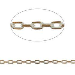 Lanț 3x2x0,5 mm culoare dublă auriu / alb -1 metru
