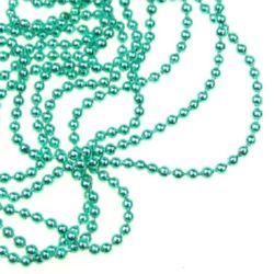 Lanț  bile 2 mm lumină verde -35 cm