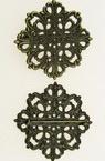 Μεταλλική καρφίτσα/παραμάνα με βάση λουλούδι 42x42.5x33 mm μπρονζέ -2 τεμάχια