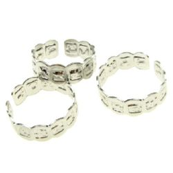 Adjustable Ring Bases Zodiac sign 18 mm silver -10 pieces