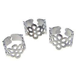 Метална основа за пръстен 20 мм сребро -10 броя