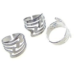 Adjustable Ring Bases 20 mm silver -10 pieces
