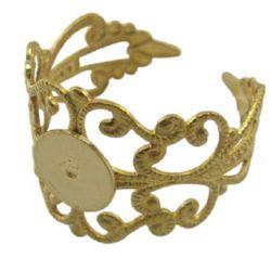 Метална основа за пръстен 19 мм цвят злато -4 броя