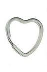 Inel cheie inimă 31x31x3 mm culoare oțel argintiu -5 bucăți