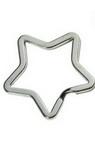 Xалка за ключодържател звезда 35x4 мм стомана цвят сребро -5 броя