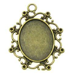 Основа за медальон метал 39x29.5 плочка 18.5x23.5 мм дупка 3 мм цвят антик бронз