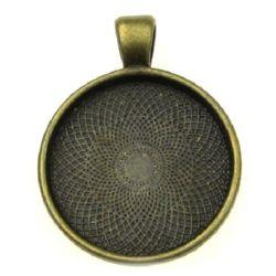 Baza pentru medalion metalic 36x28x3 țiglă 25x25 mm gaură 4 mm culoare bronz antic