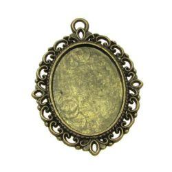 Основа за медальон метал 39x29x2 плочка 25x18 мм дупка 2 мм цвят антик бронз
