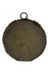 Основа за медальон метал 31x27x4 мм плочка 25 мм дупка 3 мм цвят антик бронз