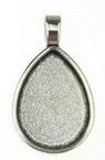 Основа за медальон метал 36x21x3 плочка 25x18 мм дупка 6x3 мм цвят сребро