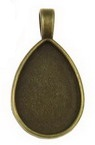 Основа за медальон метал 36x21x3 плочка 25x18 мм дупка 6x3 мм цвят антик бронз