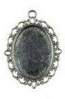Основа за медальон метал 39x29x2 плочка 25x18 мм дупка 2 мм цвят старо сребро