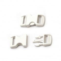 Plastic clasp 18x34 mm hole 13 mm white -10 pieces