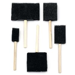 Foam Brushes Set, 5 pieces, 25mm 39mm 50mm 69mm 102mm