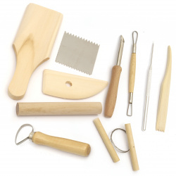 Set de scule din lemn și metal pentru modelare și decorare-10 bucăți