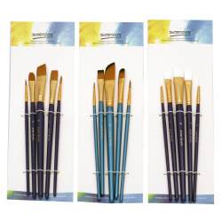 Set de perii păr artificial Worison 2 rotunde și 3 bucăți -5