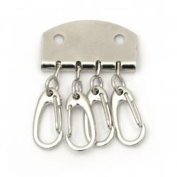 Планка с 4 броя карабинки 5x3.5 см (ключодържател) цвят сребро