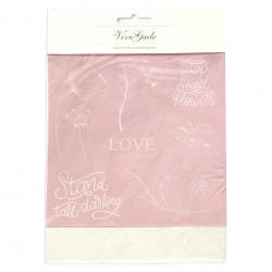 Деко фолио и трансферен лист 15x15 см deco foil and transfer sheet, сребро и розово, цветя -4 листа
