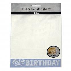 Деко фолио и трансферен лист 15x15 см deco foil and transfer sheet, тъмно синьо и сребро, пеперуди -2x2 листа