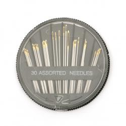 Игли с позлатено ухо 32~51 мм неръждаема стомана -30 броя