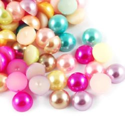 Cabochon Pearl Beads, Half Round for Gluing, DIY, Decoration, Scrapbooking, Decoupage 14x7 mm MIX -20 pieces